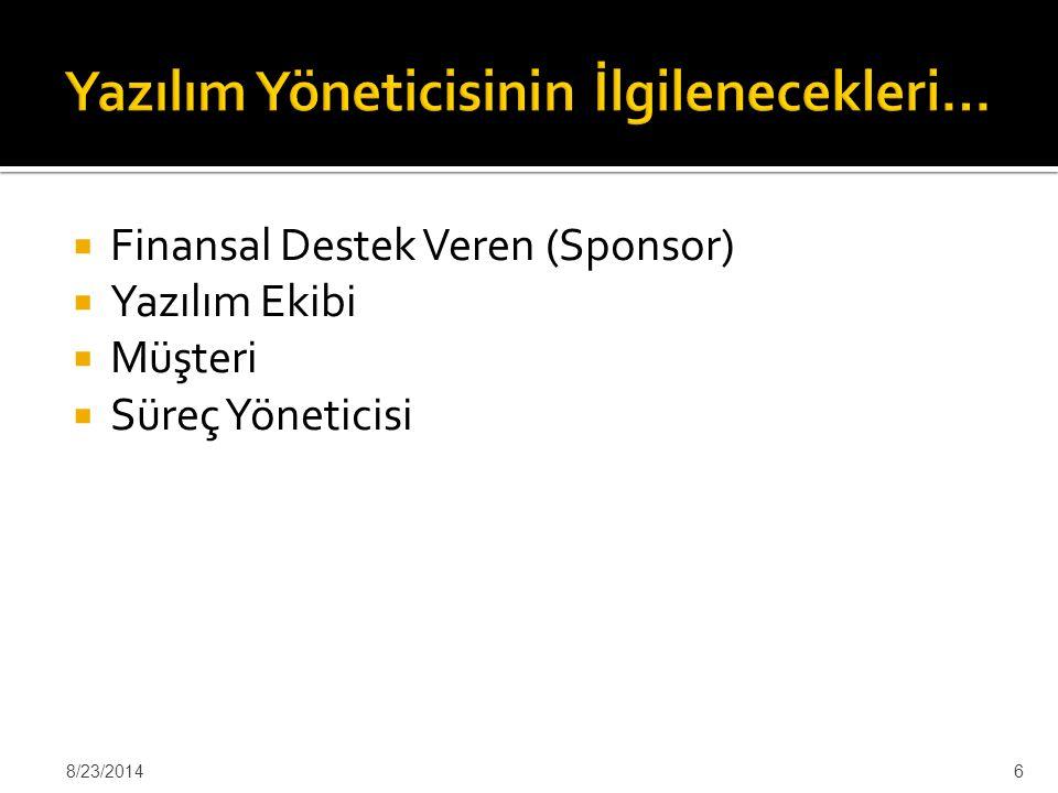  Finansal Destek Veren (Sponsor)  Yazılım Ekibi  Müşteri  Süreç Yöneticisi 8/23/20146