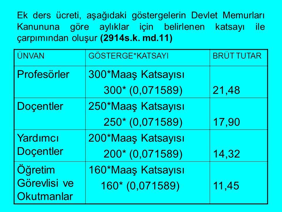 Ek ders ücreti, aşağıdaki göstergelerin Devlet Memurları Kanununa göre aylıklar için belirlenen katsayı ile çarpımından oluşur (2914s.k. md.11) ÜNVANG