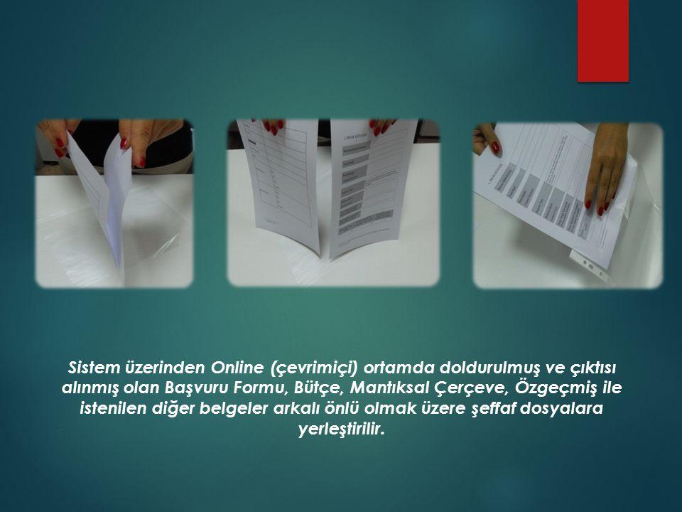 Başvuru Formu, ekleri ve Destekleyici belgeler dosya ayracı ile ayrılarak, bölümlerin üzerine etiketle isimleri yazılır.
