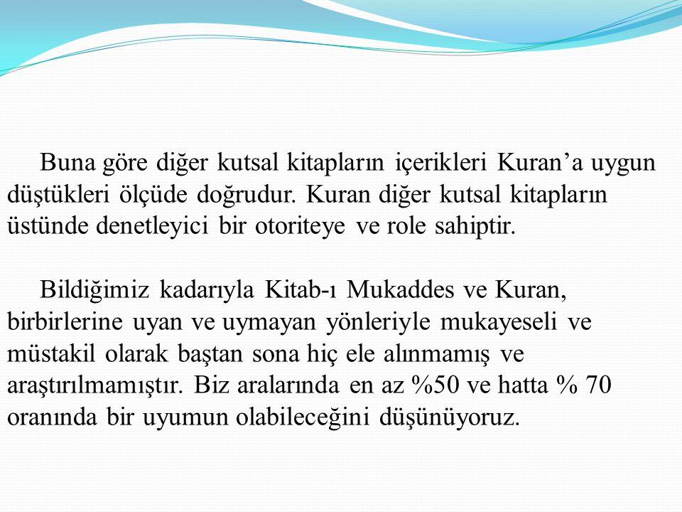 Buna göre diğer kutsal kitapların içerikleri Kuran'a uygun düştükleri ölçüde doğrudur.
