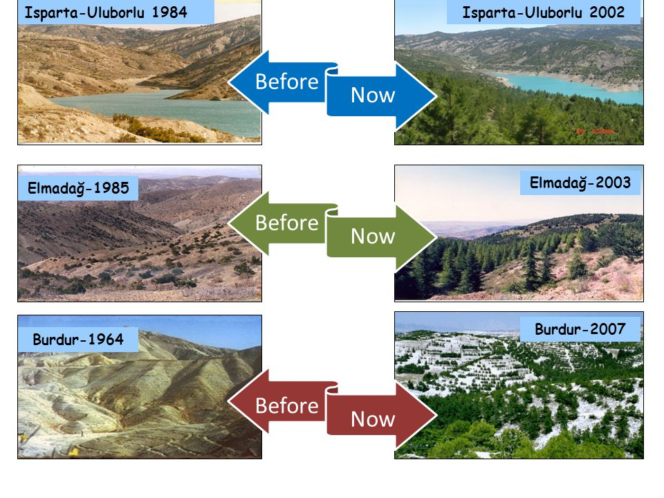 Isparta-Uluborlu 1984 Isparta-Uluborlu 2002 Elmadağ-1985 Elmadağ-2003 Burdur-1964 Burdur-2007 Before Now Before Now Before Now