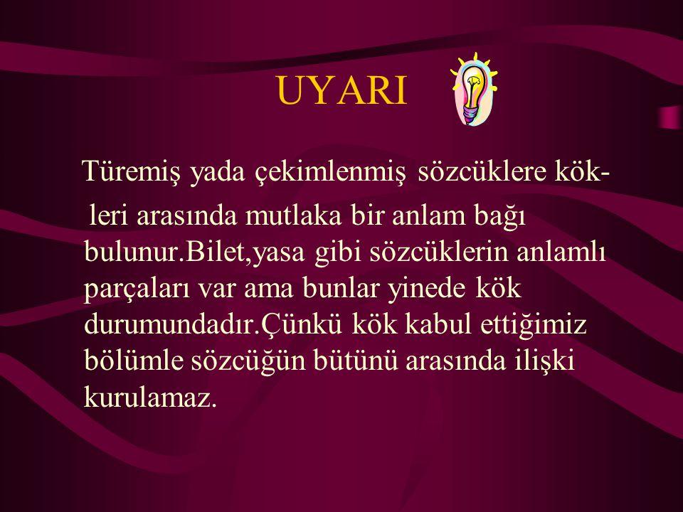 KÖK Kök sözcüğün anlamlı en küçük parçasıdır. Türk,sev,yıl,al Ör: göz lük çü kök ek ek