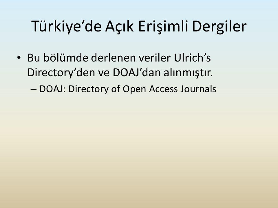 Türkiye'de Açık Erişimli Dergiler Bu bölümde derlenen veriler Ulrich's Directory'den ve DOAJ'dan alınmıştır. – DOAJ: Directory of Open Access Journals
