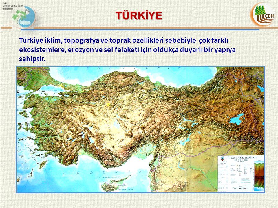 Türkiye iklim, topografya ve toprak özellikleri sebebiyle çok farklı ekosistemlere, erozyon ve sel felaketi için oldukça duyarlı bir yapıya sahiptir.
