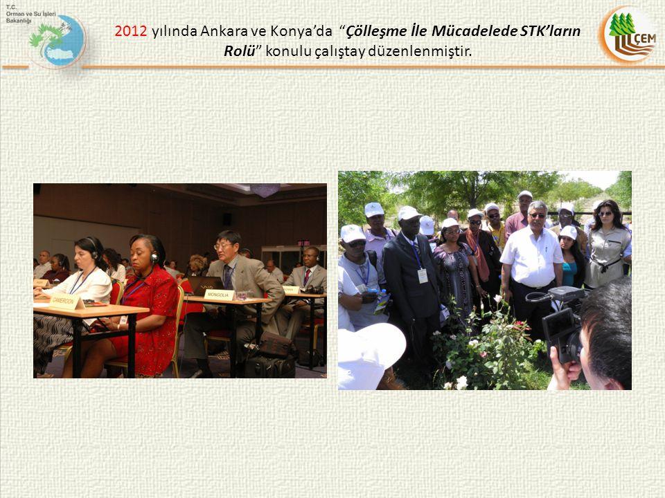 """2012 yılında Ankara ve Konya'da """"Çölleşme İle Mücadelede STK'ların Rolü"""" konulu çalıştay düzenlenmiştir."""