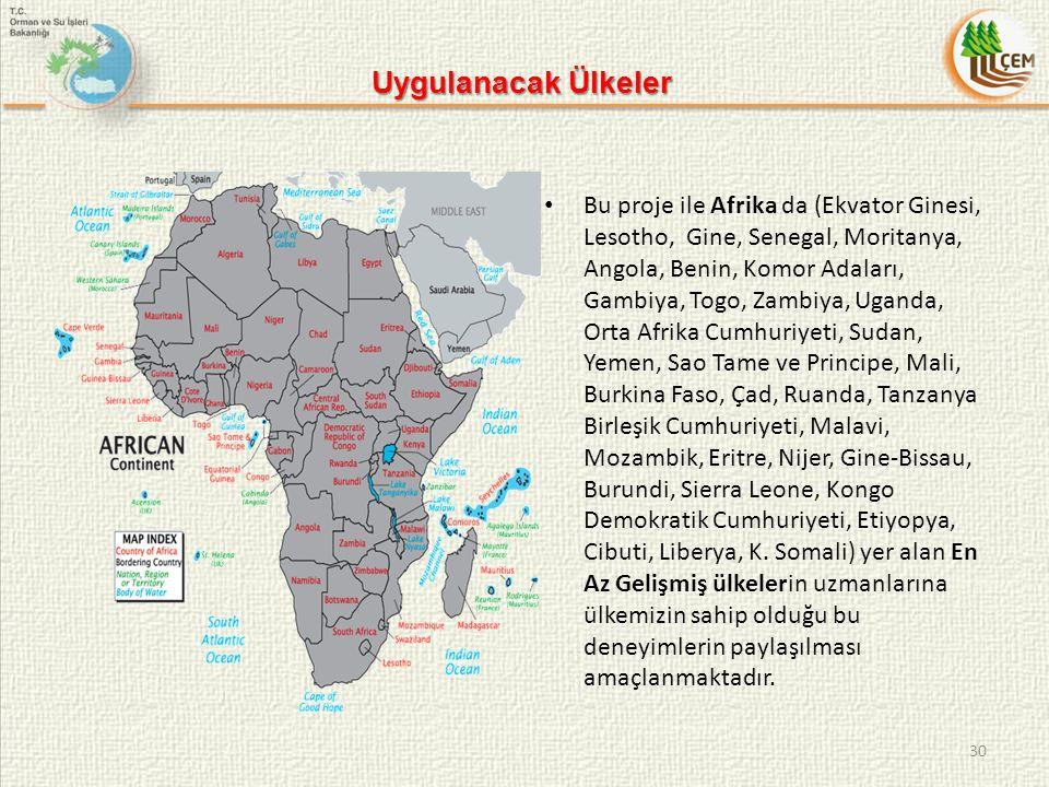 Uygulanacak Ülkeler 30 Bu proje ile Afrika da (Ekvator Ginesi, Lesotho, Gine, Senegal, Moritanya, Angola, Benin, Komor Adaları, Gambiya, Togo, Zambiya