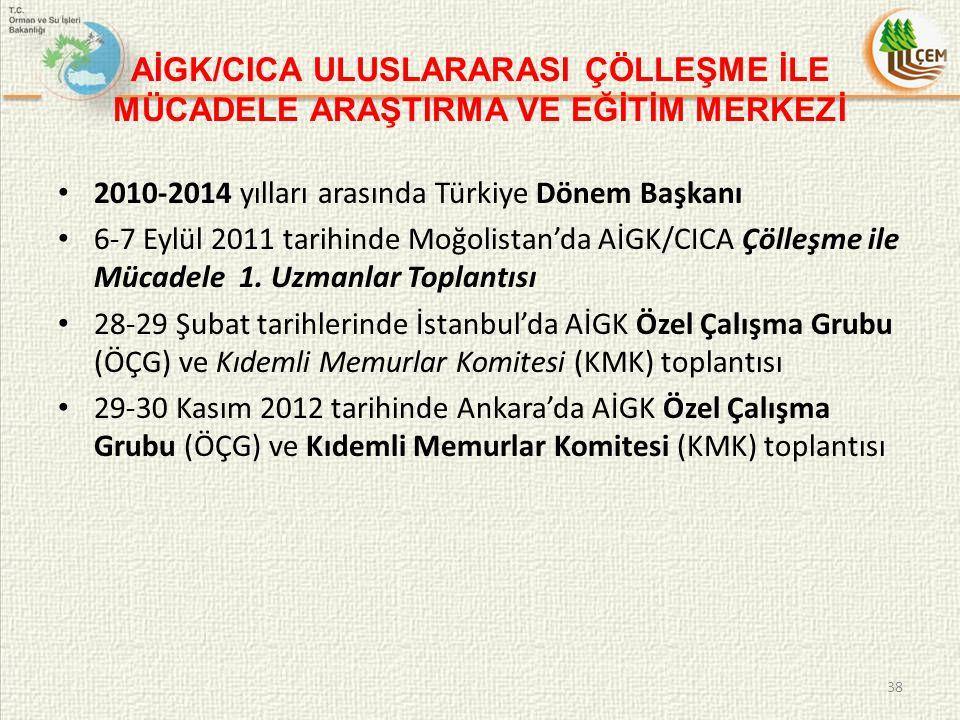 AİGK/CICA ULUSLARARASI ÇÖLLEŞME İLE MÜCADELE ARAŞTIRMA VE EĞİTİM MERKEZİ 2010-2014 yılları arasında Türkiye Dönem Başkanı 6-7 Eylül 2011 tarihinde Moğ