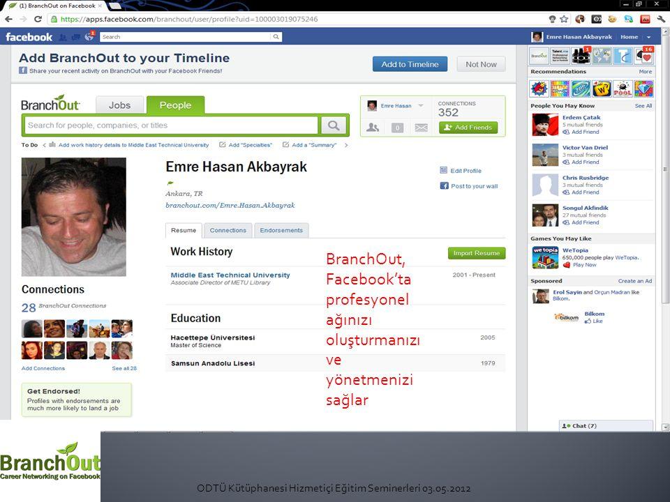 ODTÜ Kütüphanesi Hizmetiçi Eğitim Seminerleri 03.05.2012 BranchOut, Facebook'ta profesyonel ağınızı oluşturmanızı ve yönetmenizi sağlar