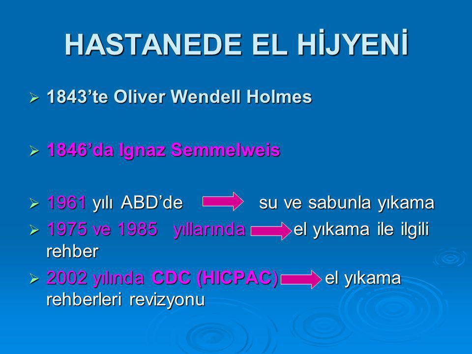 HASTANEDE EL HİJYENİ  1843'te Oliver Wendell Holmes  1846'da Ignaz Semmelweis  1961 yılı ABD'de su ve sabunla yıkama  1975 ve 1985 yıllarında el yıkama ile ilgili rehber  2002 yılında CDC (HICPAC) el yıkama rehberleri revizyonu