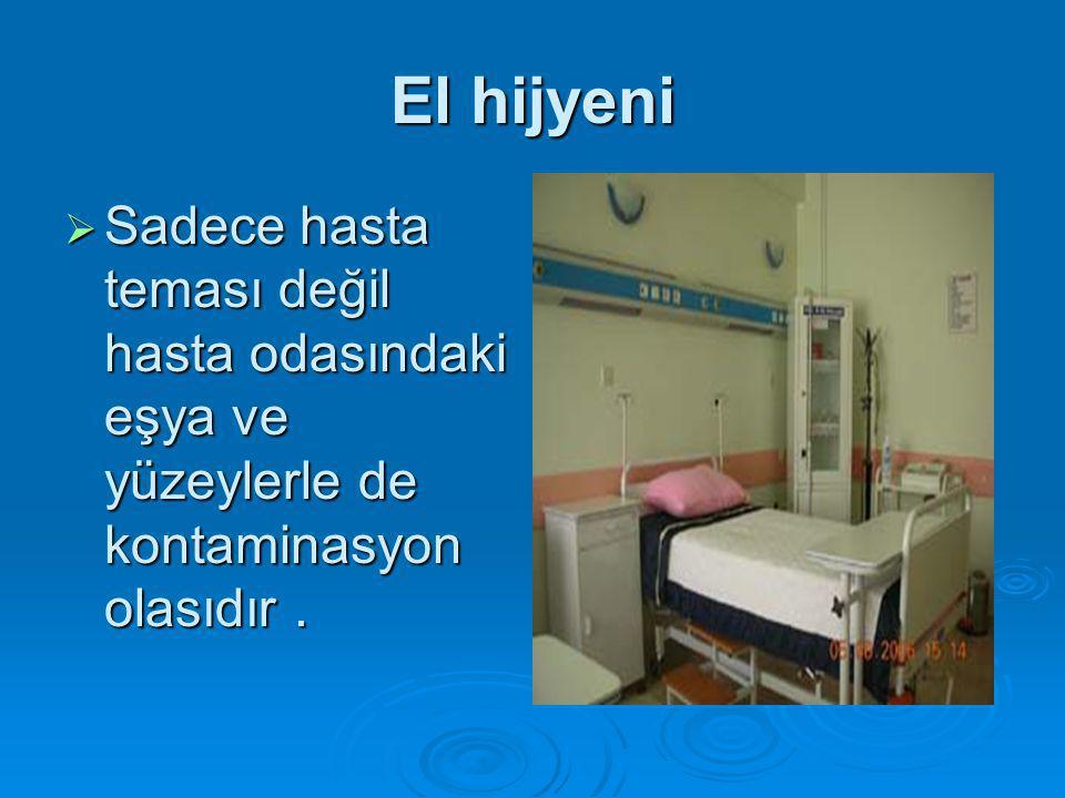 El hijyeni  Sadece hasta teması değil hasta odasındaki eşya ve yüzeylerle de kontaminasyon olasıdır.