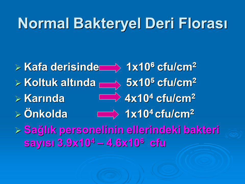 Normal Bakteryel Deri Florası  Kafa derisinde 1x10 6 cfu/cm 2  Koltuk altında 5x10 5 cfu/cm 2  Karında 4x10 4 cfu/cm 2  Önkolda 1x10 4 cfu/cm 2  Sağlık personelinin ellerindeki bakteri sayısı 3.9x10 4 – 4.6x10 6 cfu
