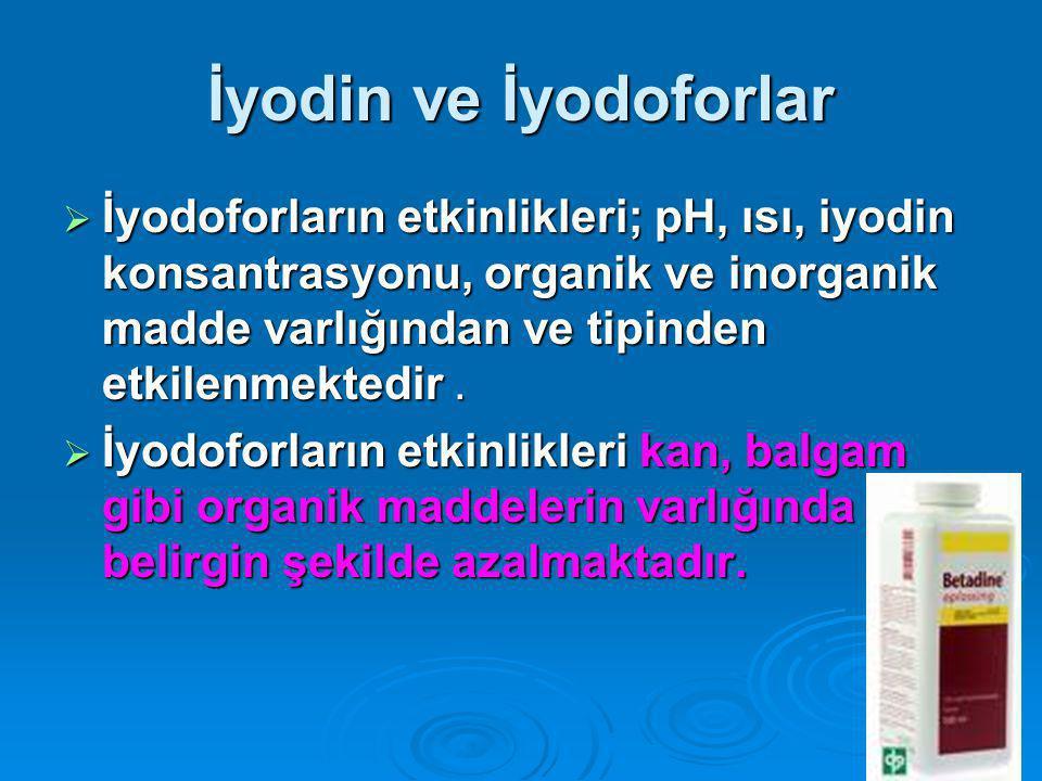 İyodin ve İyodoforlar  İyodoforların etkinlikleri; pH, ısı, iyodin konsantrasyonu, organik ve inorganik madde varlığından ve tipinden etkilenmektedir.