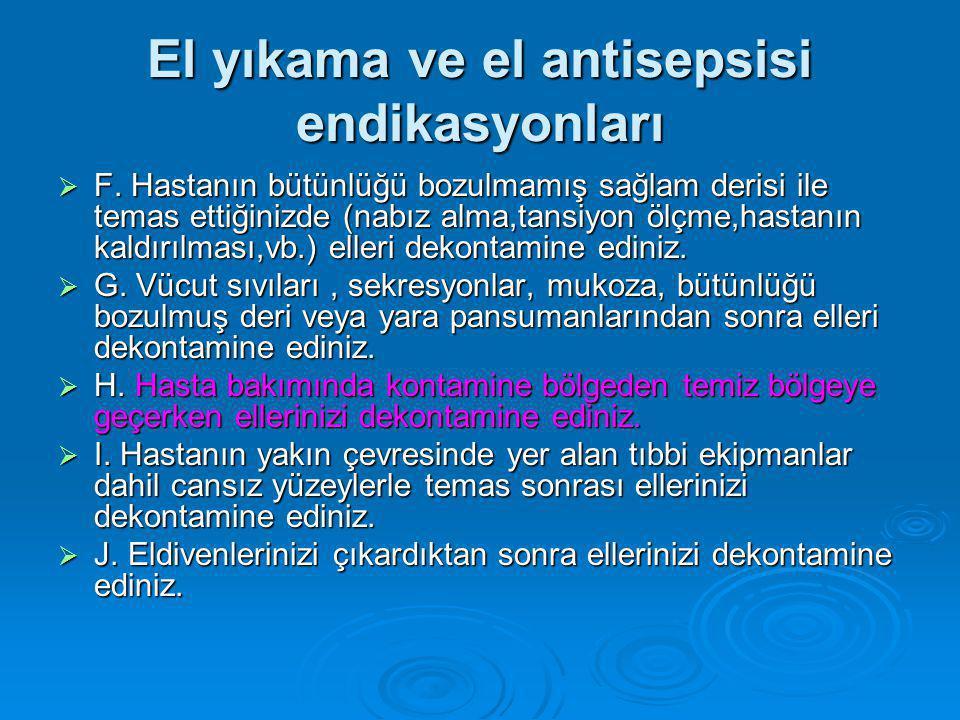 El yıkama ve el antisepsisi endikasyonları  F.