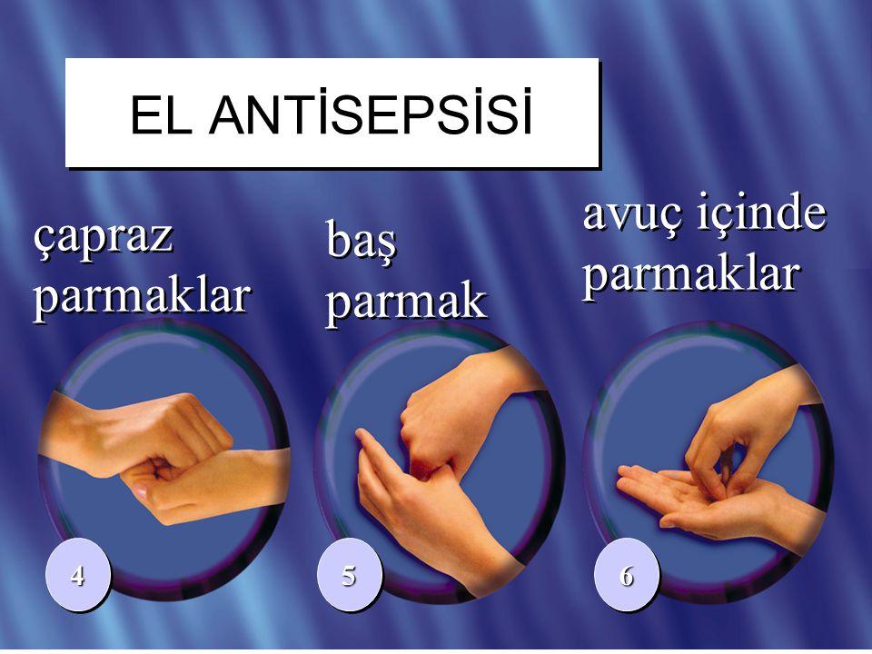 19/41 çapraz parmaklar baş parmak 445566 avuç içinde parmaklar EL ANTİSEPSİSİ