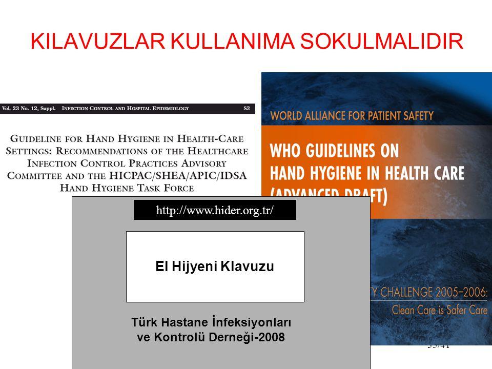 35/41 KILAVUZLAR KULLANIMA SOKULMALIDIR El Hijyeni Klavuzu Türk Hastane İnfeksiyonları ve Kontrolü Derneği-2008 http://www.hider.org.tr/