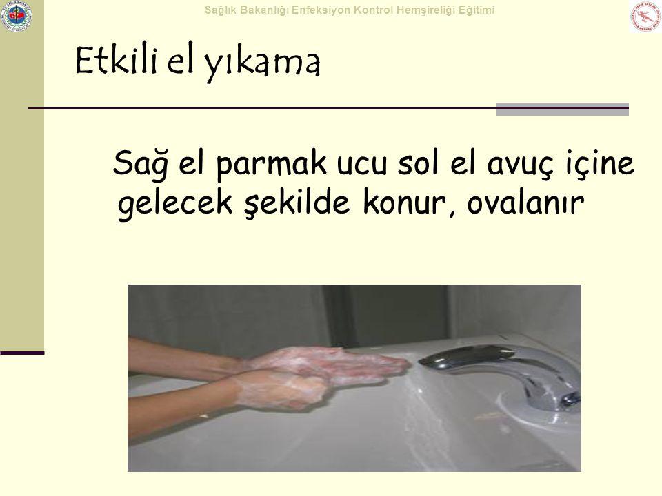 Sağlık Bakanlığı Enfeksiyon Kontrol Hemşireliği Eğitimi Etkili el yıkama Sağ el parmak ucu sol el avuç içine gelecek şekilde konur, ovalanır