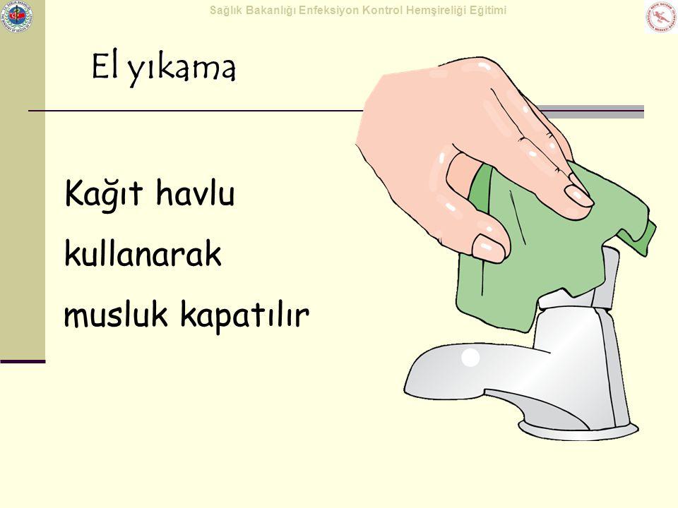 Sağlık Bakanlığı Enfeksiyon Kontrol Hemşireliği Eğitimi El yıkama Kağıt havlu kullanarak musluk kapatılır