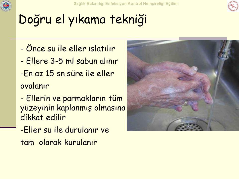Sağlık Bakanlığı Enfeksiyon Kontrol Hemşireliği Eğitimi çapraz parmaklar baş parmak 445566 avuç içinde parmaklar El Antisepsisi