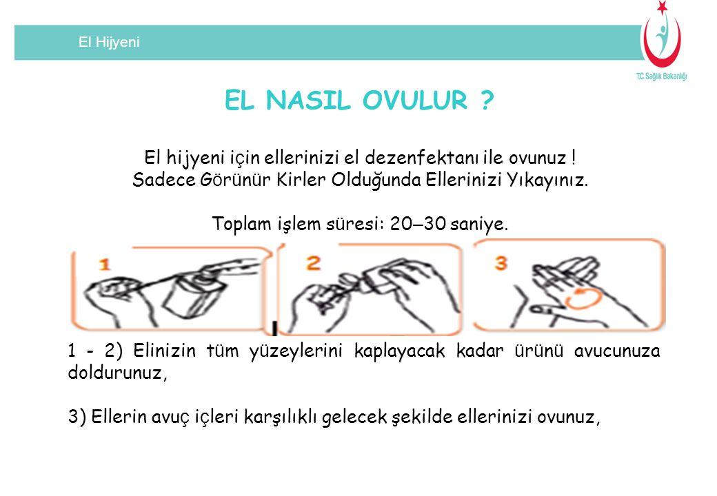 El Hijyeni EL NASIL OVULUR .El hijyeni i ç in ellerinizi el dezenfektanı ile ovunuz .