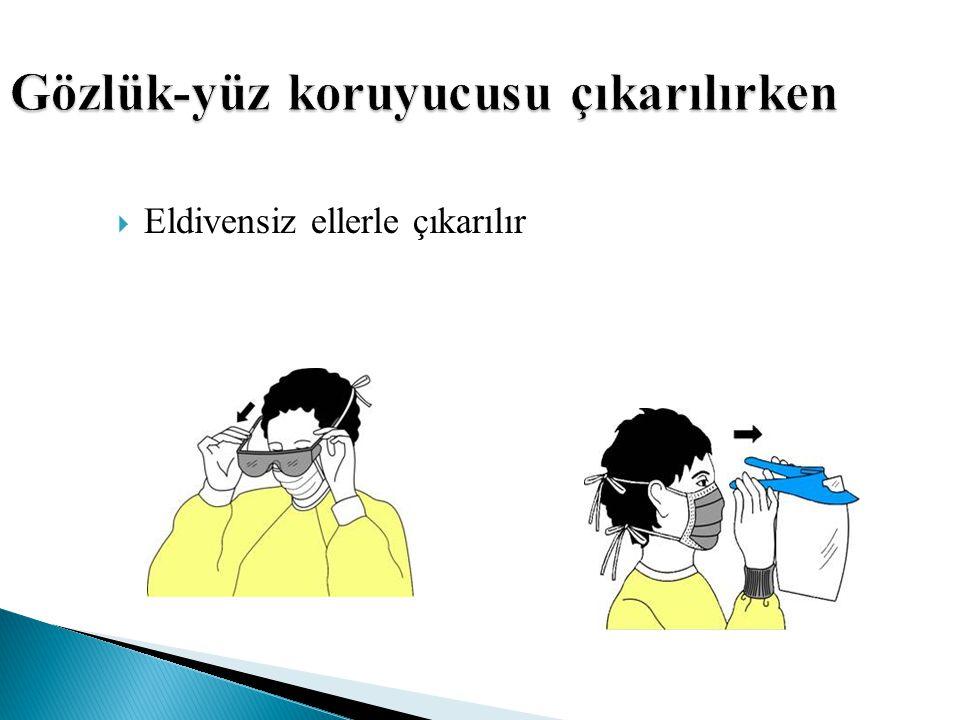 Gözlük-yüz koruyucusu çıkarılırken  Eldivensiz ellerle çıkarılır