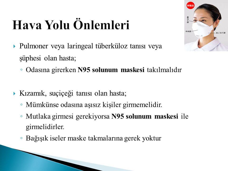 Hava Yolu Önlemleri  Pulmoner veya laringeal tüberküloz tanısı veya şüphesi olan hasta; ◦ Odasına girerken N95 solunum maskesi takılmalıdır  Kızamık