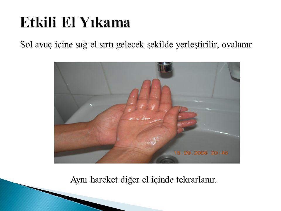 Sol avuç içine sağ el sırtı gelecek şekilde yerleştirilir, ovalanır Aynı hareket diğer el içinde tekrarlanır.