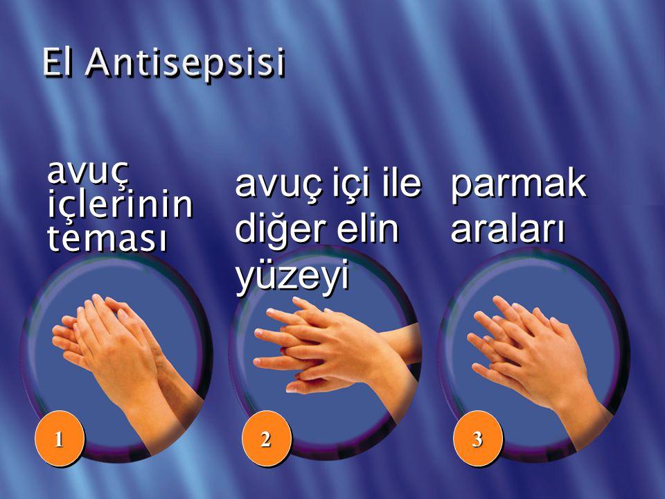 avuç içlerinin teması avuç içi ile diğer elin yüzeyi 112233 parmak araları