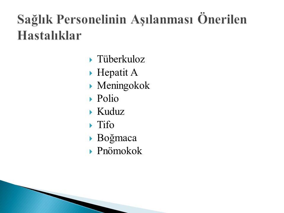  Tüberkuloz  Hepatit A  Meningokok  Polio  Kuduz  Tifo  Boğmaca  Pnömokok