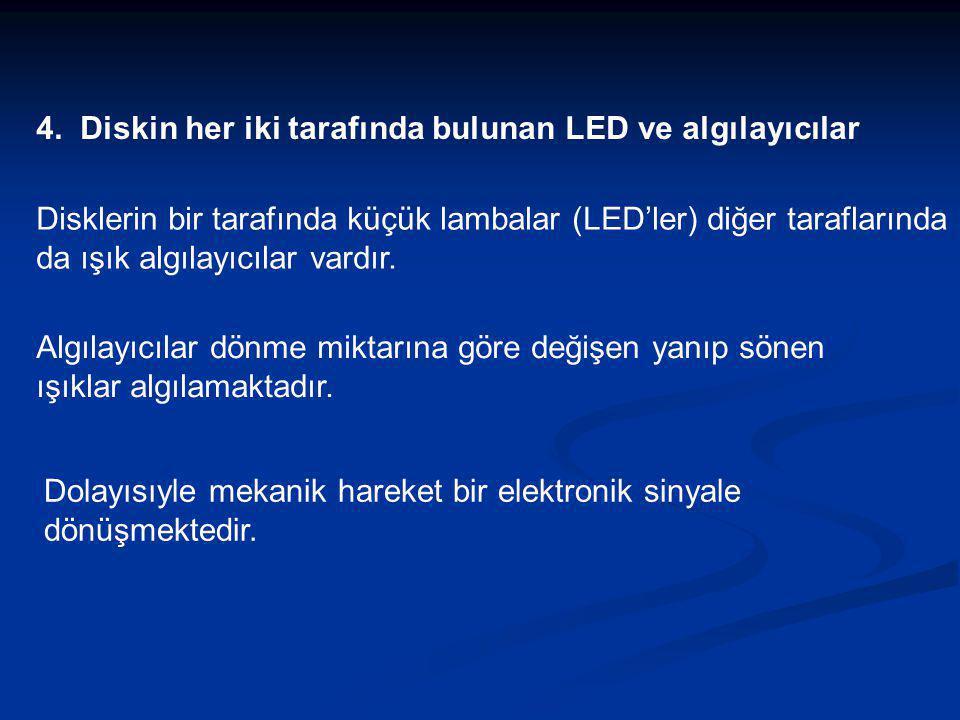 4. Diskin her iki tarafında bulunan LED ve algılayıcılar Disklerin bir tarafında küçük lambalar (LED'ler) diğer taraflarında da ışık algılayıcılar var