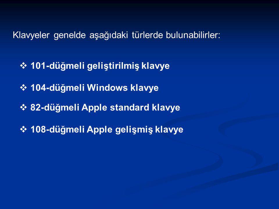 Klavyeler genelde aşağıdaki türlerde bulunabilirler:  101-düğmeli geliştirilmiş klavye  104-düğmeli Windows klavye  82-düğmeli Apple standard klavy