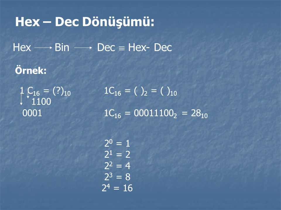 Hex – Dec Dönüşümü: Hex Bin Dec  Hex- Dec Örnek: 1 C 16 = (?) 10 1C 16 = ( ) 2 = ( ) 10 1100 0001 1C 16 = 00011100 2 = 28 10 2 0 = 1 2 1 = 2 2 2 = 4