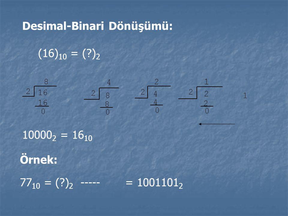 Desimal-Binari Dönüşümü: (16) 10 = (?) 2 10000 2 = 16 10 Örnek: 77 10 = (?) 2 ----- = 1001101 2