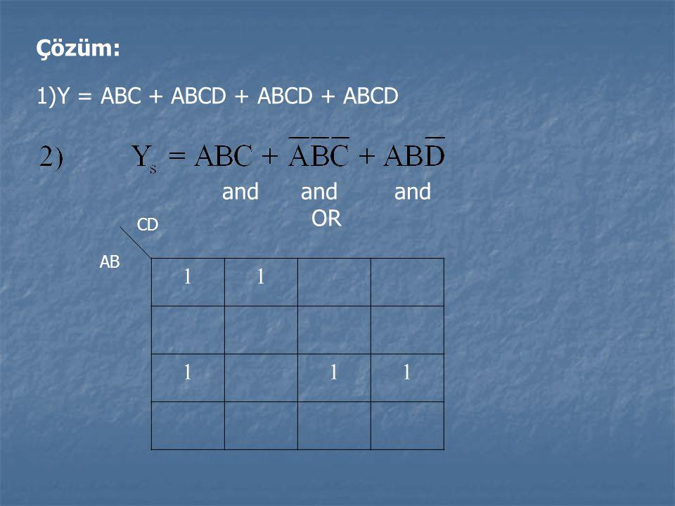 Çözüm: 1)Y = ABC + ABCD + ABCD + ABCD and and and OR 11 111 CD AB