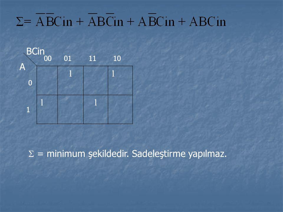 11 11 BCin A 0 1 00011110  = minimum şekildedir. Sadeleştirme yapılmaz.