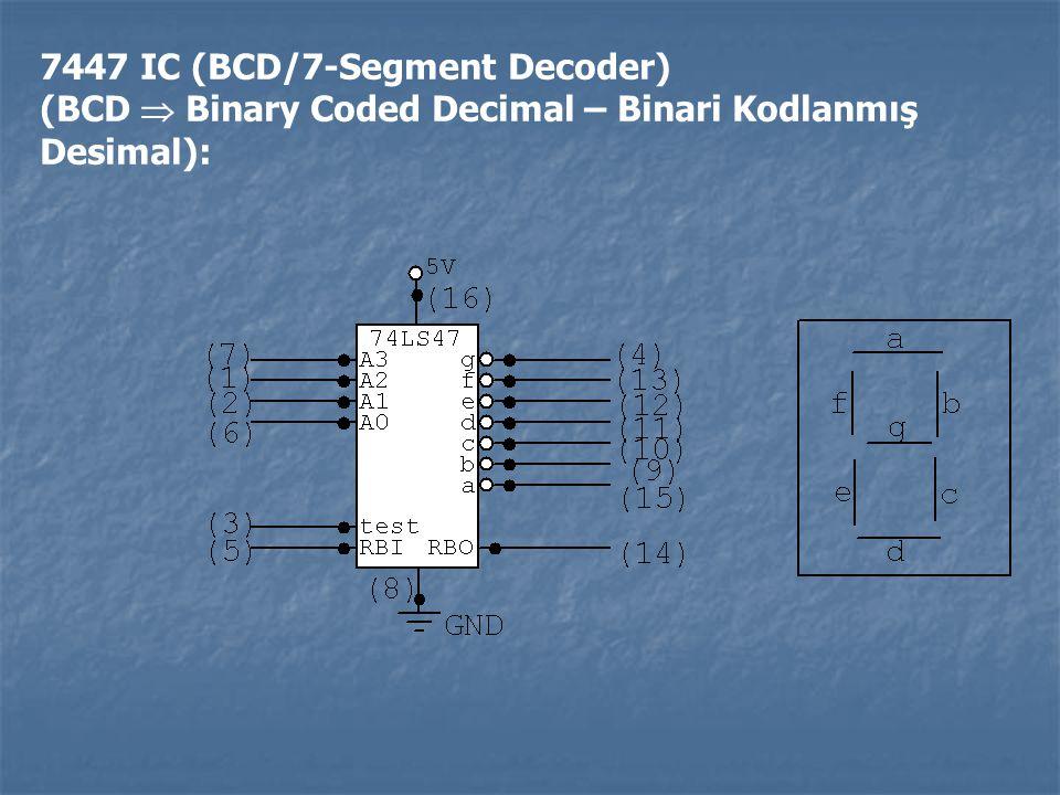 7447 IC (BCD/7-Segment Decoder) (BCD  Binary Coded Decimal – Binari Kodlanmış Desimal):