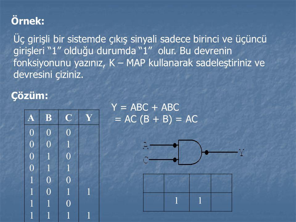 """Örnek: Üç girişli bir sistemde çıkış sinyali sadece birinci ve üçüncü girişleri """"1"""" olduğu durumda """"1"""" olur. Bu devrenin fonksiyonunu yazınız, K – MAP"""