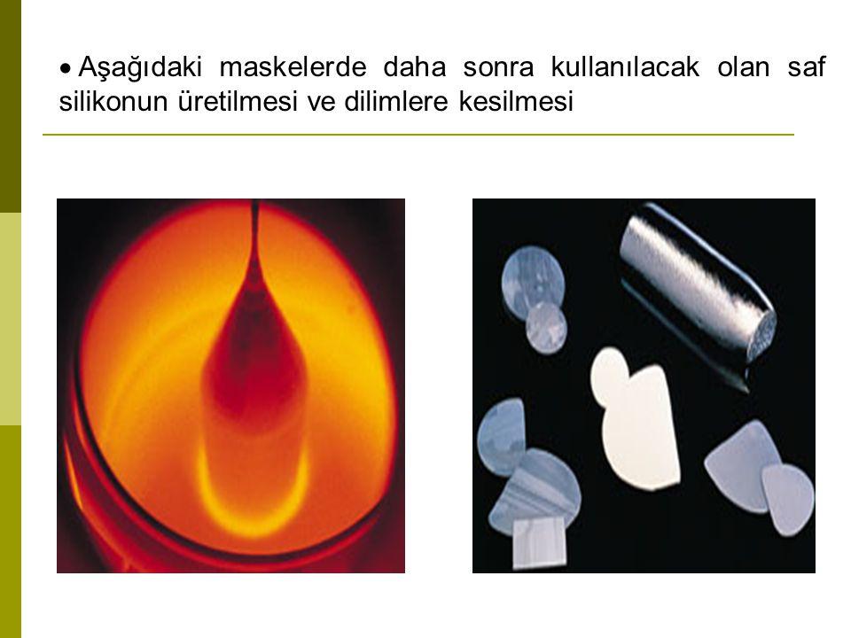  Aşağıdaki maskelerde daha sonra kullanılacak olan saf silikonun üretilmesi ve dilimlere kesilmesi