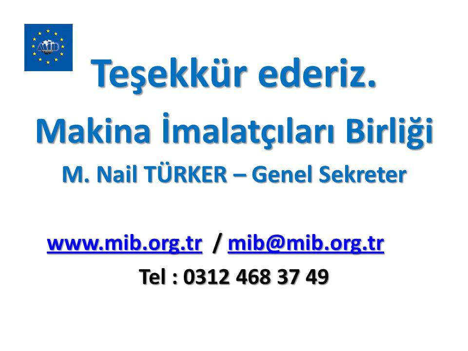 Teşekkür ederiz. Makina İmalatçıları Birliği M. Nail TÜRKER – Genel Sekreter www.mib.org.trwww.mib.org.tr / mib@mib.org.tr mib@mib.org.tr www.mib.org.
