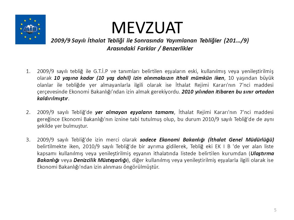 MEVZUAT 2009/9 Sayılı İthalat Tebliği ile Sonrasında Yayımlanan Tebliğler (201…/9) Arasındaki Farklar / Benzerlikler 1.2009/9 sayılı tebliğ ile G.T.İ.