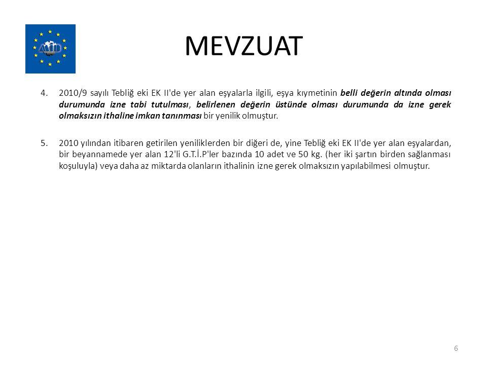 MEVZUAT 4.2010/9 sayılı Tebliğ eki EK II'de yer alan eşyalarla ilgili, eşya kıymetinin belli değerin altında olması durumunda izne tabi tutulması, bel