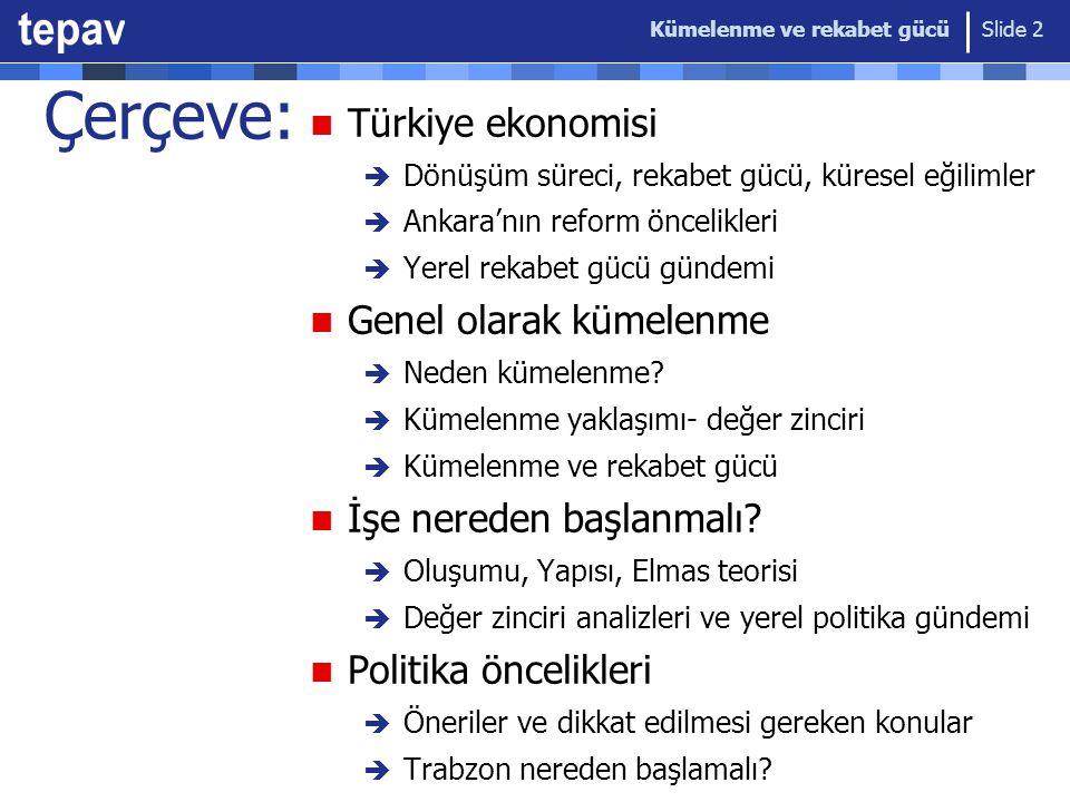 Kümelenme ve rekabet gücü Slide 3 Kısaca TEPAV Türkiye Ekonomi Politikaları Araştırma Vakfı 2004'de TOBB'un desteğiyle kuruldu Düşünce kuruluşu (think-tank); bağımsız, partiler-üstü, bilimsel ve disiplinler-arası yaklaşımla politika araştırmaları Rekabet gücü, sanayi politikası, yönetişim, mali izleme, düzenleyici etki analizi, bölgesel entegrasyon  Avrupa Birliği, Dünya Bankası ile ortak projeler  DPT, Maliye Bakanlığı, Sanayi ve Ticaret Bakanlığı, Dışişleri Bakanlığı: kapasite artırımı ve analitik destek  66 uzman (~ 40 akademik) Güven Sak, Hasan Ersel, Süreyya Serdengeçti, Fatih Özatay, Mustafa Aydın, Emin Dedeoğlu, Nihat Ali Özcan