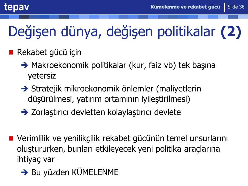 Kümelenme ve rekabet gücü Slide 36 Değişen dünya, değişen politikalar (2) Rekabet gücü için  Makroekonomik politikalar (kur, faiz vb) tek başına yete