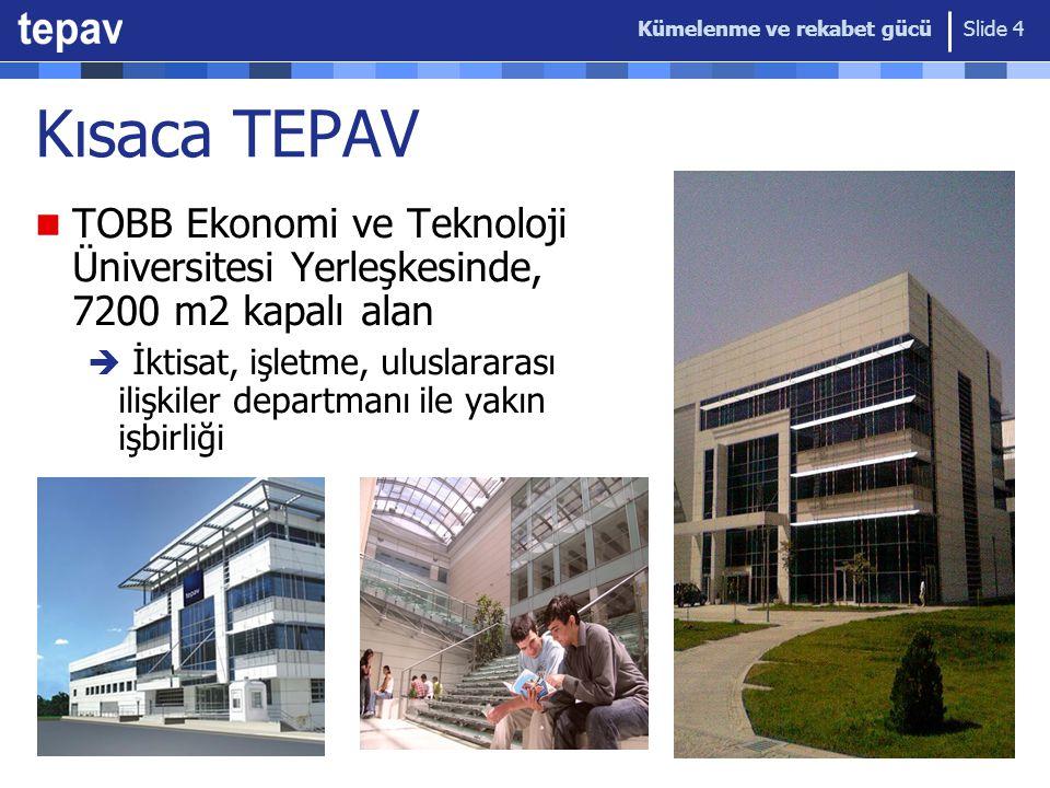 Kümelenme ve rekabet gücü Slide 4 Kısaca TEPAV TOBB Ekonomi ve Teknoloji Üniversitesi Yerleşkesinde, 7200 m2 kapalı alan  İktisat, işletme, uluslararası ilişkiler departmanı ile yakın işbirliği