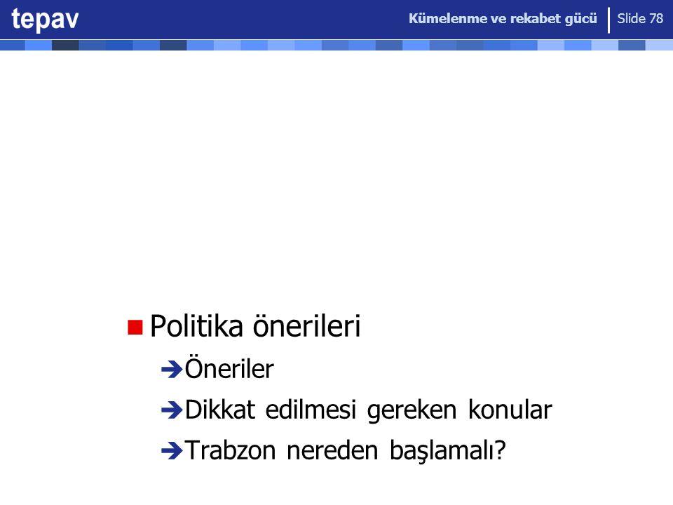Kümelenme ve rekabet gücü Slide 78 Politika önerileri  Öneriler  Dikkat edilmesi gereken konular  Trabzon nereden başlamalı?