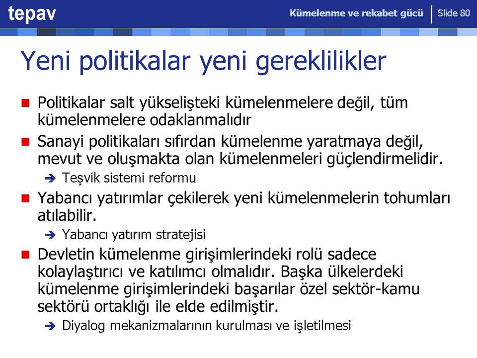 Kümelenme ve rekabet gücü Slide 80 Yeni politikalar yeni gereklilikler Politikalar salt yükseli ş teki kümelenmelere de ğ il, tüm kümelenmelere odakla