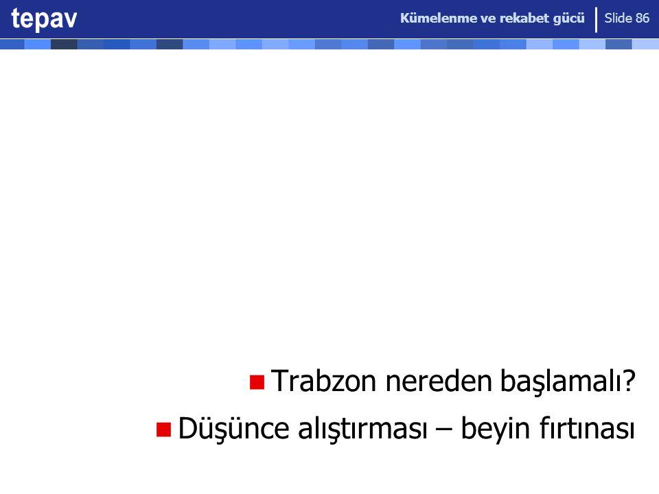 Kümelenme ve rekabet gücü Slide 86 Trabzon nereden başlamalı? Düşünce alıştırması – beyin fırtınası