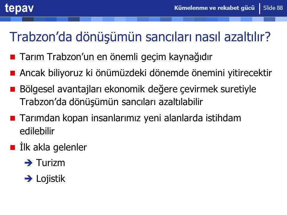 Kümelenme ve rekabet gücü Slide 88 Trabzon'da dönüşümün sancıları nasıl azaltılır? Tarım Trabzon'un en önemli geçim kaynağıdır Ancak biliyoruz ki önüm