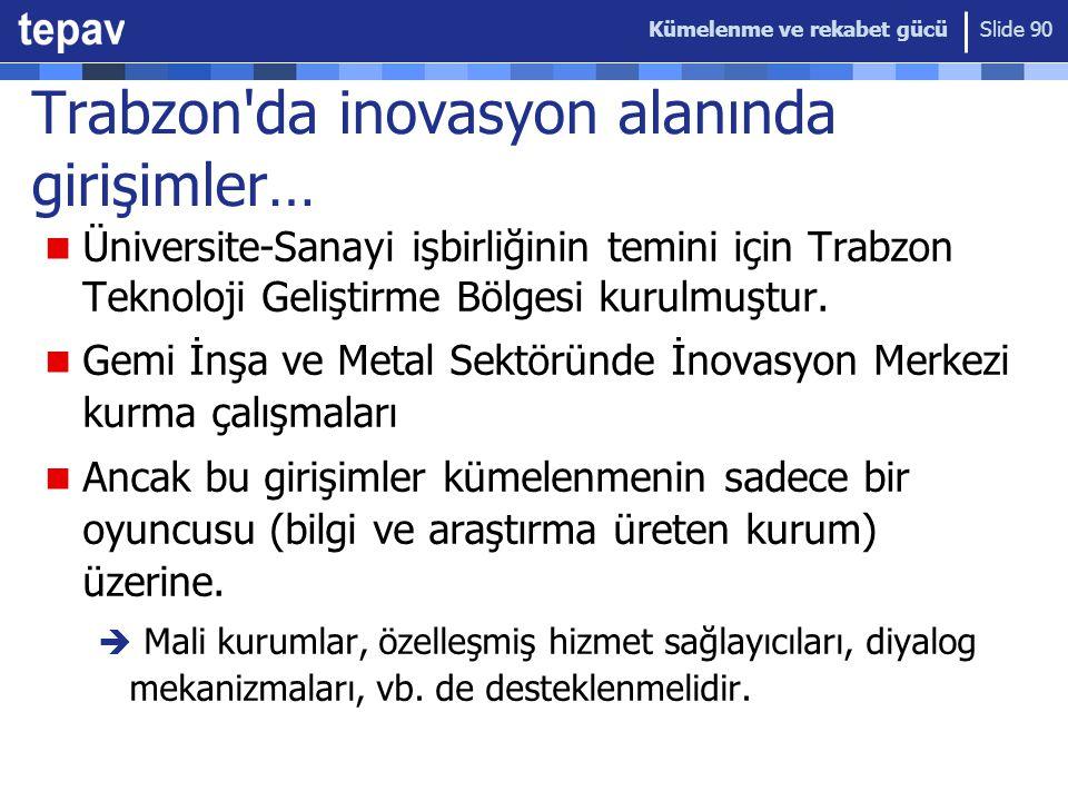 Kümelenme ve rekabet gücü Slide 90 Trabzon da inovasyon alanında girişimler… Üniversite-Sanayi işbirliğinin temini için Trabzon Teknoloji Geliştirme Bölgesi kurulmuştur.