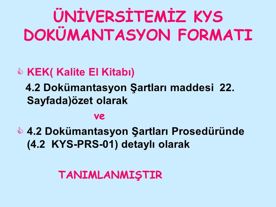 ÜNİVERSİTEMİZ KYS DOKÜMANTASYON FORMATI  KEK( Kalite El Kitabı) 4.2 Dokümantasyon Şartları maddesi 22. Sayfada)özet olarak ve  4.2 Dokümantasyon Şar