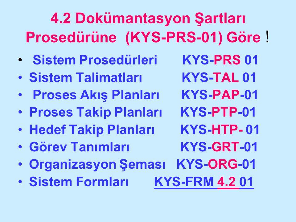 4.2 Dokümantasyon Şartları Prosedürüne (KYS-PRS-01) Göre ! Sistem Prosedürleri KYS-PRS 01 Sistem Talimatları KYS-TAL 01 Proses Akış Planları KYS-PAP-0